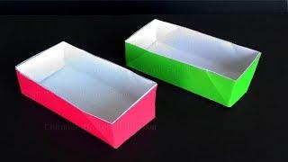 Origami Schachtel mit Deckel basteln mit Papier - Rechteckige Origami Box falten  - DIY Bastelideen