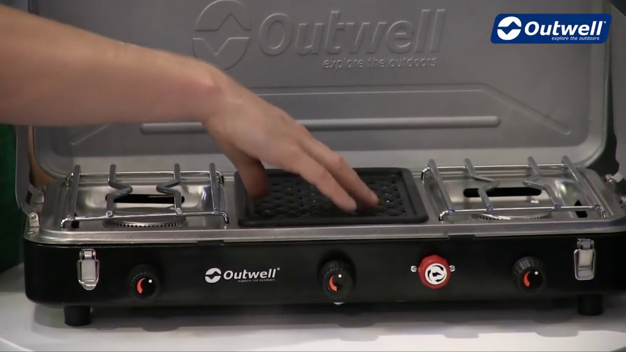 outwell chef cooker premium 3 burner stove and grill - youtube