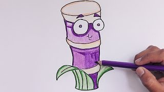 Dibujando y coloreando Sugar Cane (Plantas vs Zombies) - Cane Sugar drawing and coloring