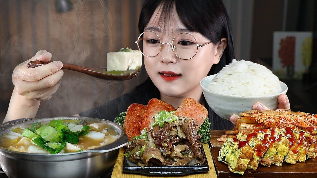 집밥 땡기는날🍚 뜨끈한밥에 된장찌개 불고기 계란말이 스팸 김치까지! 한식먹방 KOREAN FOOD MUKBANG | EATING SOUNDS