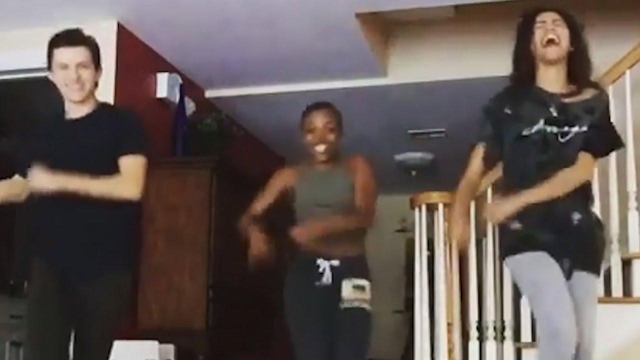Zendaya & Tom Holland Take On The Typo Dance Challenge   Tom ...