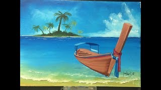 #127. how to paint a boat on the shore (Acrylic)