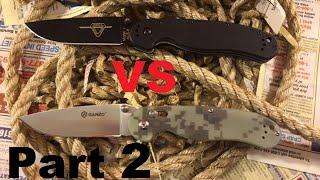 Edge Retention Test! - Ganzo G727M 440C vs Ontario Rat 1 AUS-8 Steel (part-2)