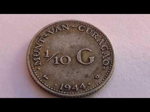 A 1944 D 1/10 G Munt-Van-Curacao Coin