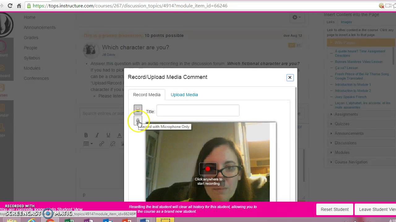 Adding a video or audio recording to a discussion in Canvas