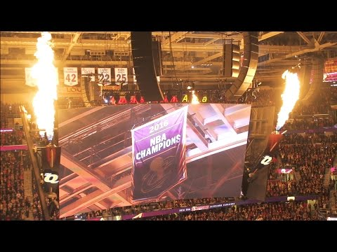 2016 NBA Champions Banner Being Raised At The Q For The Cleveland Cavaliers