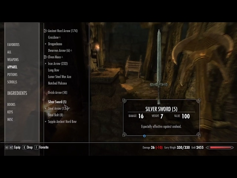 Skyrim  Where to find silver swords PS4, Xbox One, PC