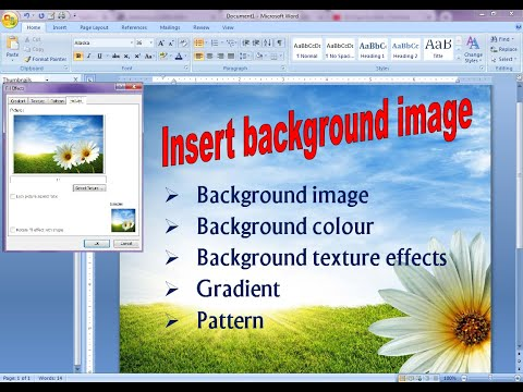 how to apply background image in word 2007 | background image in ms word 2007
