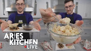 Aries Kitchen Live | Vegan French Dip and Potato Salad