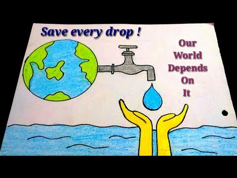 How To Draw Save Water Poster Drawing For Kids Easy Save Water Color Drawing For Kids Youtube