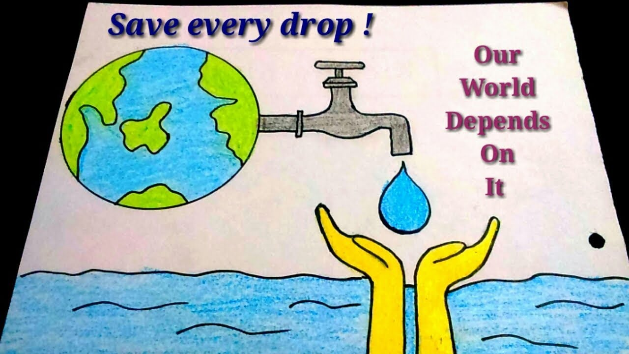 How to draw save water poster drawing for kidseasy save water color drawing for kids