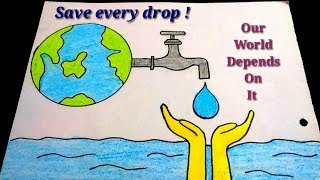 How to draw save water poster drawing for kids||Easy save water color drawing for kids