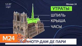 При пожаре в соборе Парижской Богоматери полностью сгорел шпиль, крыша и часы - Москва 24