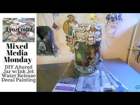 DIY Altered Jar with Ink Jet Water Release Decal Painting