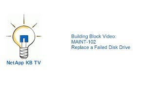 Building Block Video: Maint 102 Replace A Failed Disk Drive
