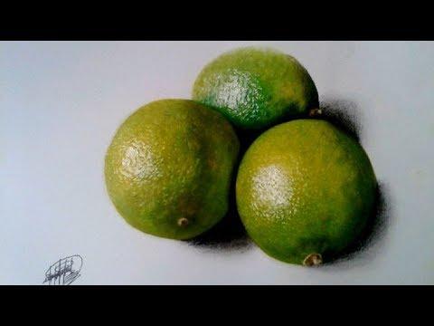 Dibujo realista de unas Limas (time-lapse) HD   Realistic drawing of a citrus fruit