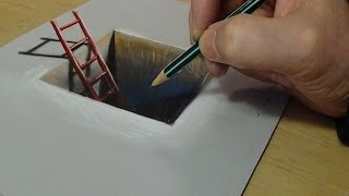How to Draw Red Ladder in the Hole - 3D Trick Art on Paper - Vamos