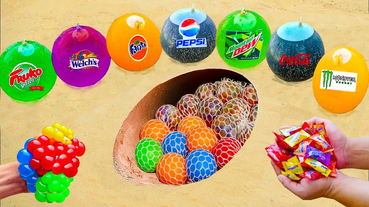 Balloons vs Stress Balls in Inclined Pit Underground | Big Coca Cola, Different Fanta and Mentos Gum