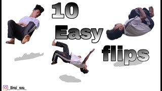 10 easy flips aฑy one can do | learn flips