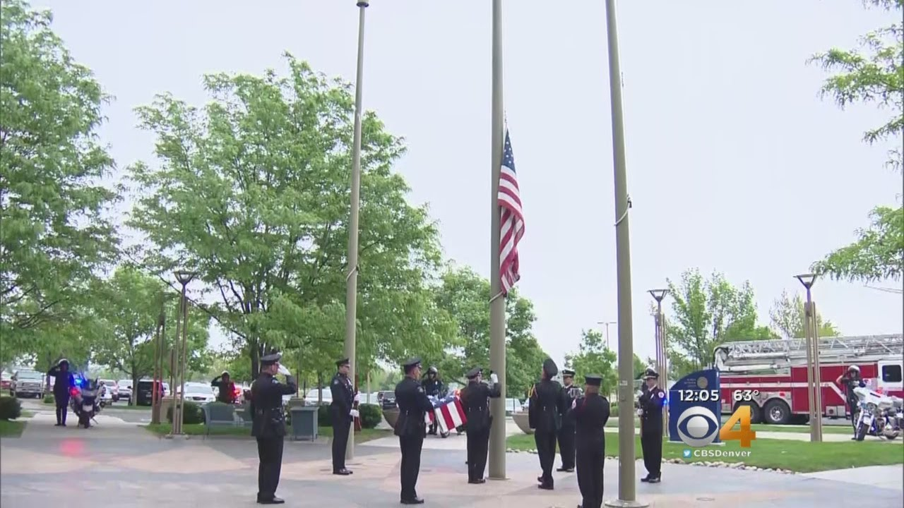 Flags Retired Outside Aurora City Hall In Memory Of Mayor Hogan