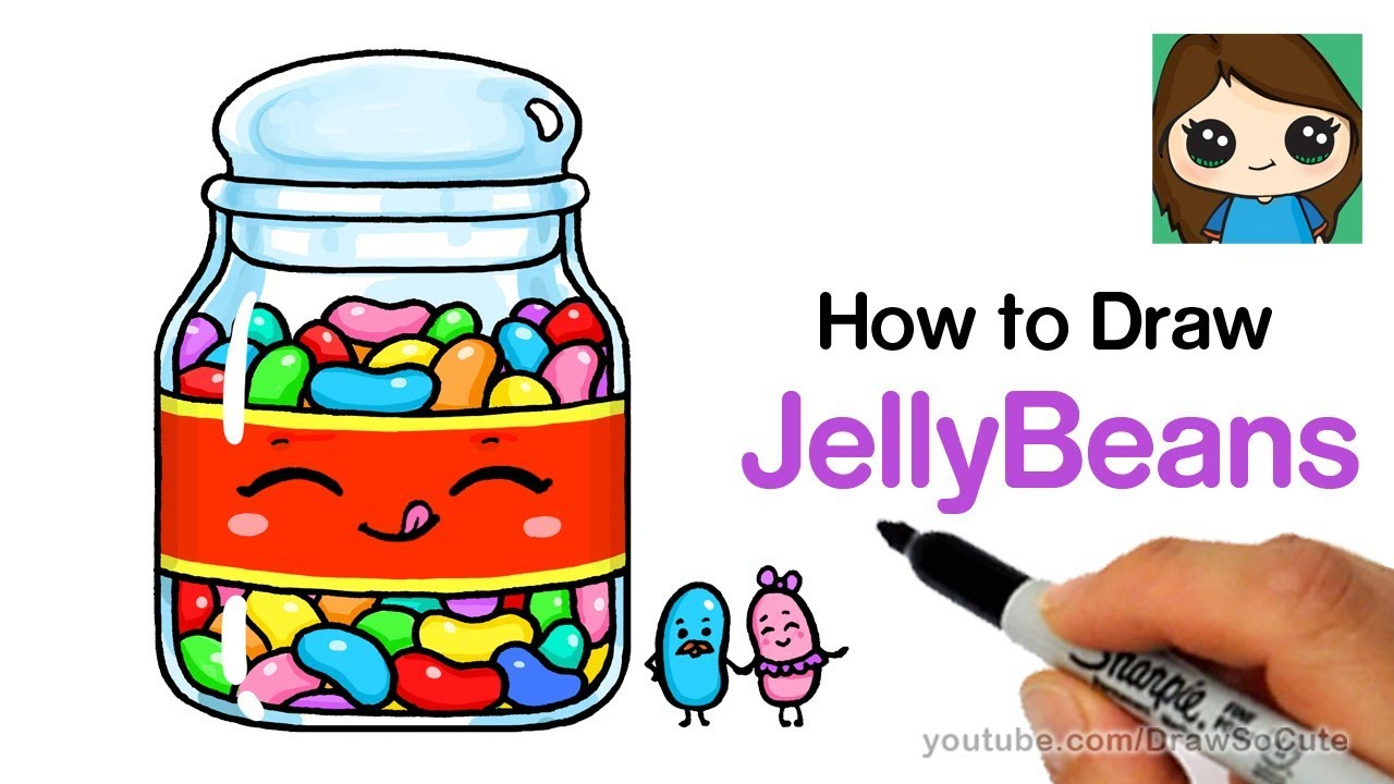 How To Draw Jelly Beans Easy And Cute Youtube