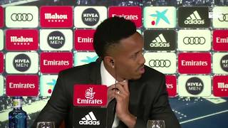 Eder Militao Gets Dizzy During his Real Madrid Presentation