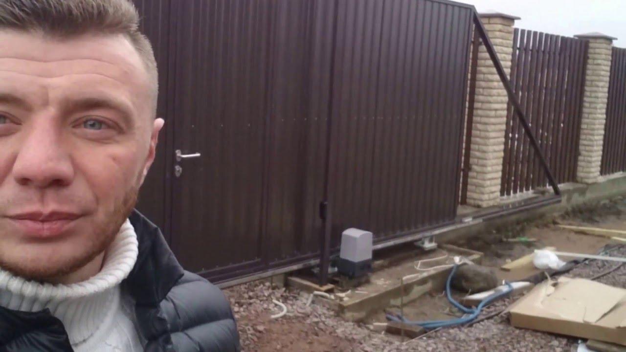 монтаж откатных ворот в СПб - YouTube