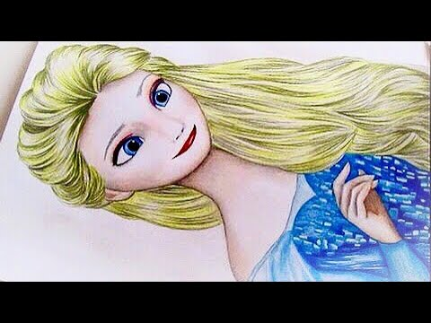 Frozen drawing Elsa with her hair down