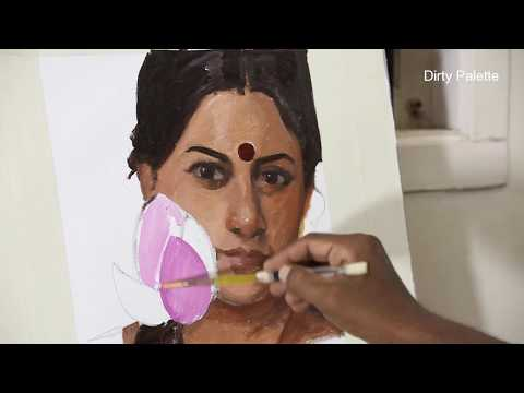 Portrait Painting Demo By Artist MP.Sharavanan Chitrakaran
