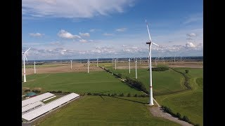 Wind farm from the air with Nordex and Vestas wind turbines 9/2016
