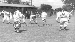 "Newsreel ""Baseball Aces warm up under Southern Skies"" HD Stock Footage"