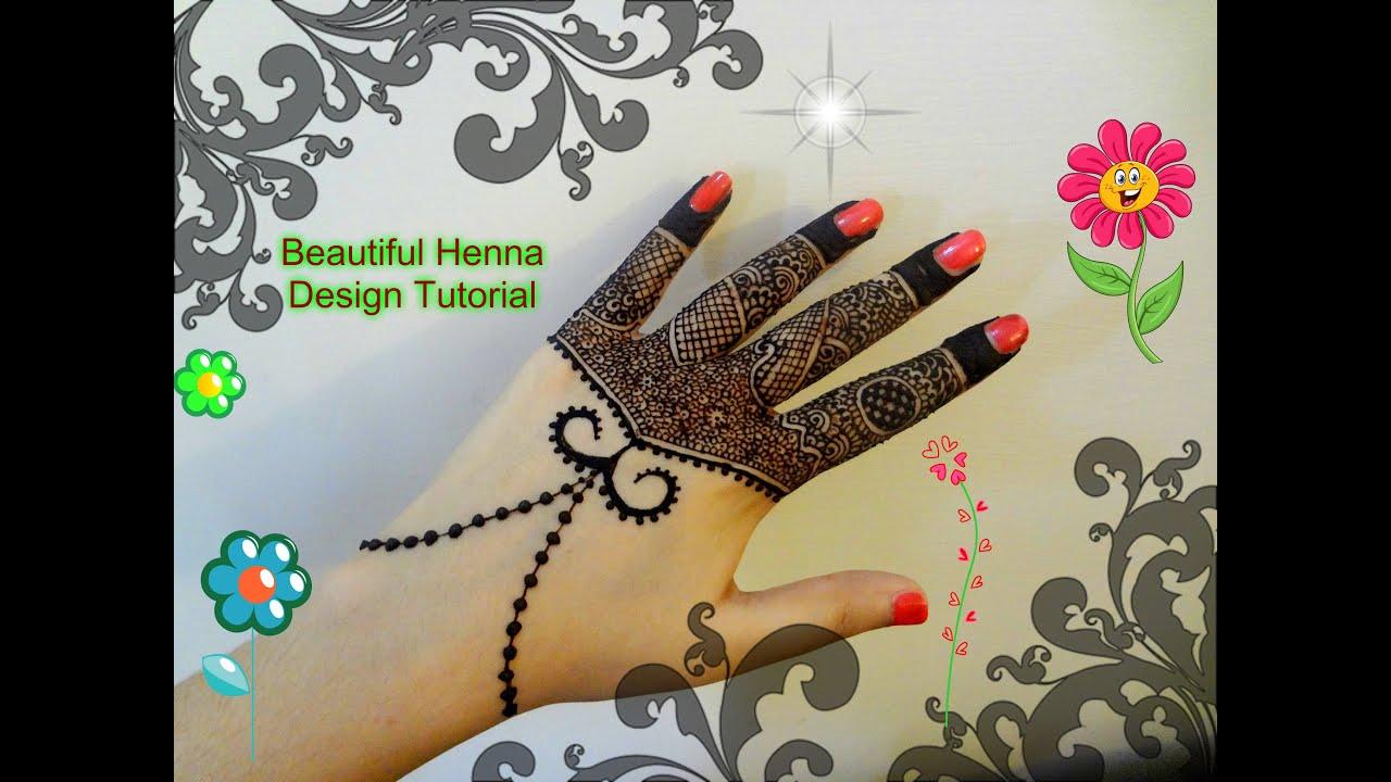 Beautiful Mehndi Design Tutorial : Beautiful intricate henna mehndi design tutorial for