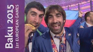 Azeri Athletes enter Stadium   Closing Ceremony     Baku 2015 European Games
