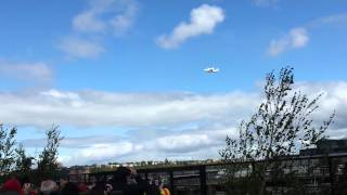 Space Shuttle Enterprise flies over the Hudson River in New York City