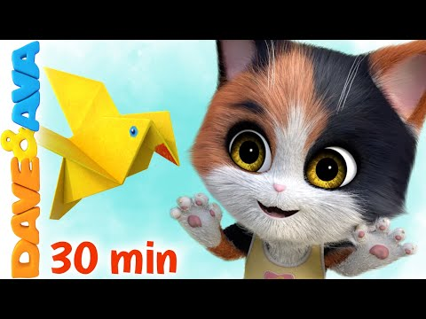 😻  Five Little Kittens & More Nursery Rhymes   Counting Songs   Dave and Ava 😻