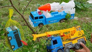 Crane Truck Troll Tayo Bus Rescued by Dump Truck Rocket Truck | Construction Vehicles Toys For Kids