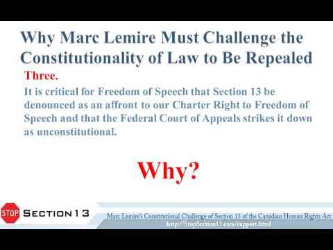 Why Marc Lemire Must Challenge Constitutionality of A Law That May Be Repealed