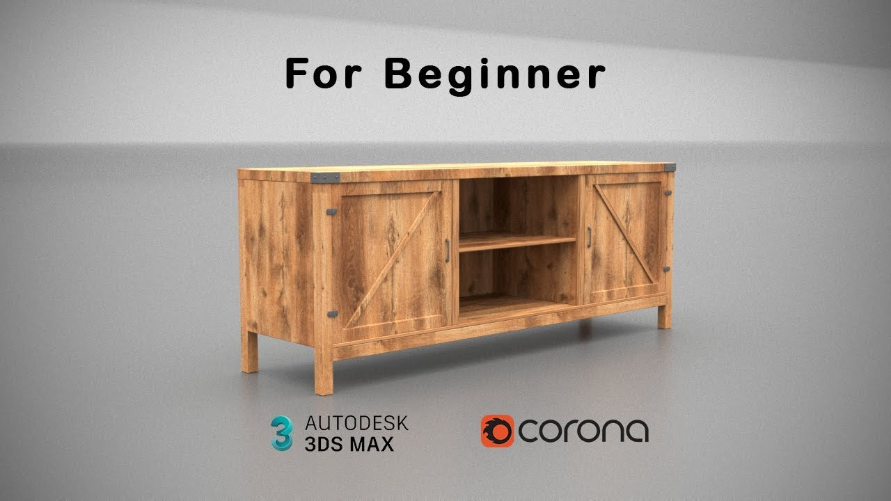 How To Make Barn Door TV Stand In 3Ds Max (Corona Render) For Beginner