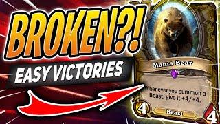 MAMA BEAR IS LITERALLY FREE WINS?! | Hearthstone Battlegrounds | HS Auto Battler
