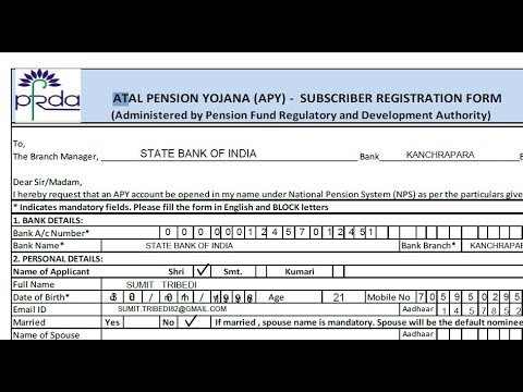 Atal Pension Yojana Form Pdf