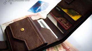 Кожаный кошелёк мужской (из кожи трёх видов), mens leather wallet,  handmade.(, 2017-02-27T11:45:48.000Z)