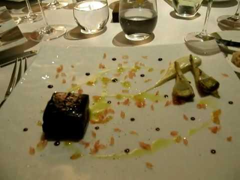 Salmon Poached In Liquorice Gel With Artichoke, Vanilla Mayonnaise