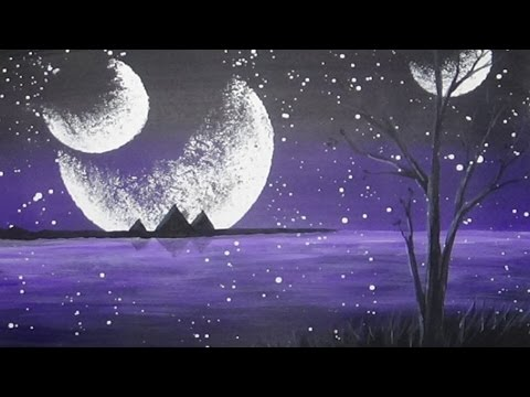 Acrylic Painting Mystical Moons Alien Planet #CACFantasyArt