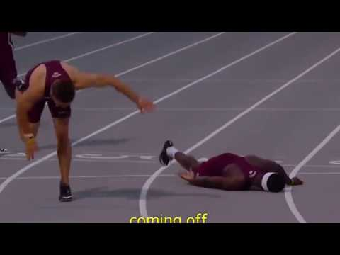 """Hilarious. Runner uses """"Superman Dive"""" to Win race."""
