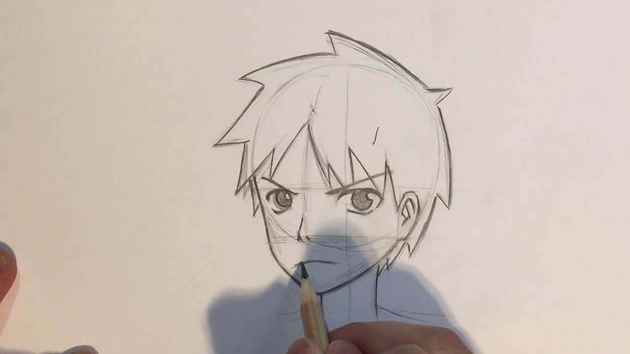 draw anime boy face 3 4