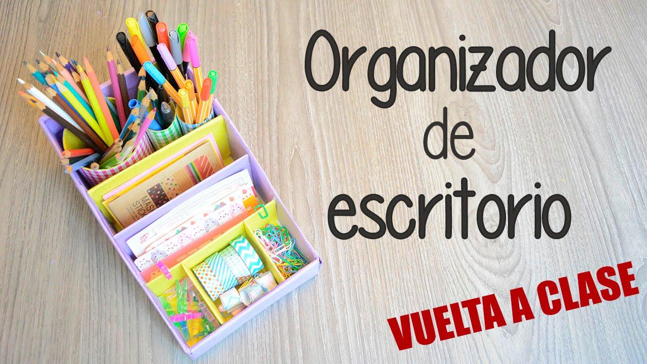 Organizador de escritorio diy con cart n youtube - Organizador escritorio ...