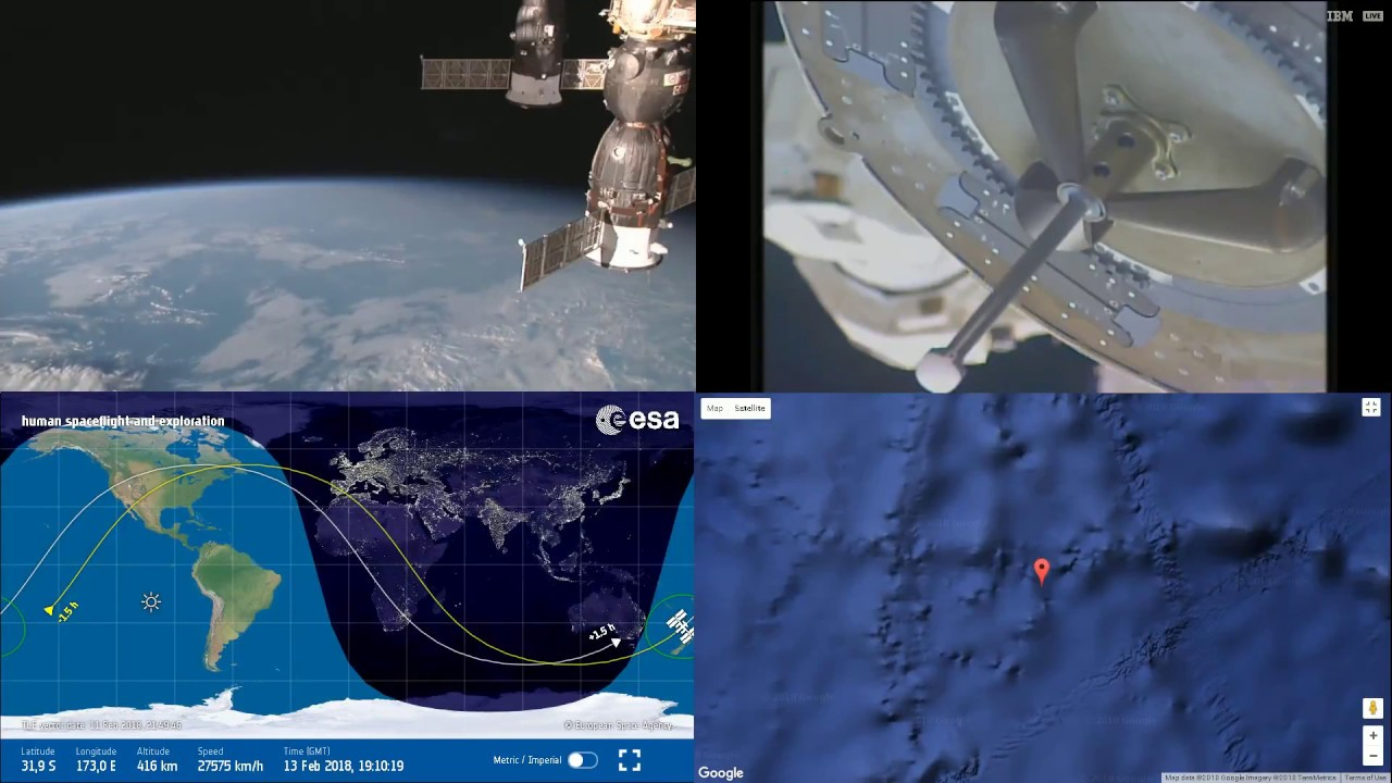 Robotic Arm Operation Through Sunrise ISS Space Station Earth View - Live earth view through satellite