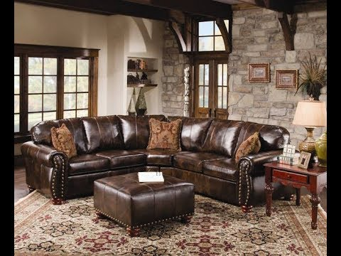Rustic Leather Sectional Sofa - YouTube