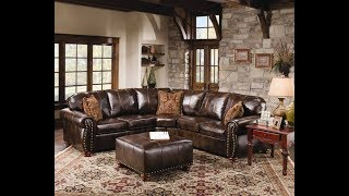 Rustic Leather Sectional Sofa