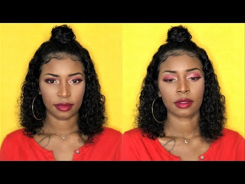 $91 Elva Hair wig  Pre plucked 13x6 Water Wave Curly Bob Lace Front Wig  NYUWA  Aliexpress Wig